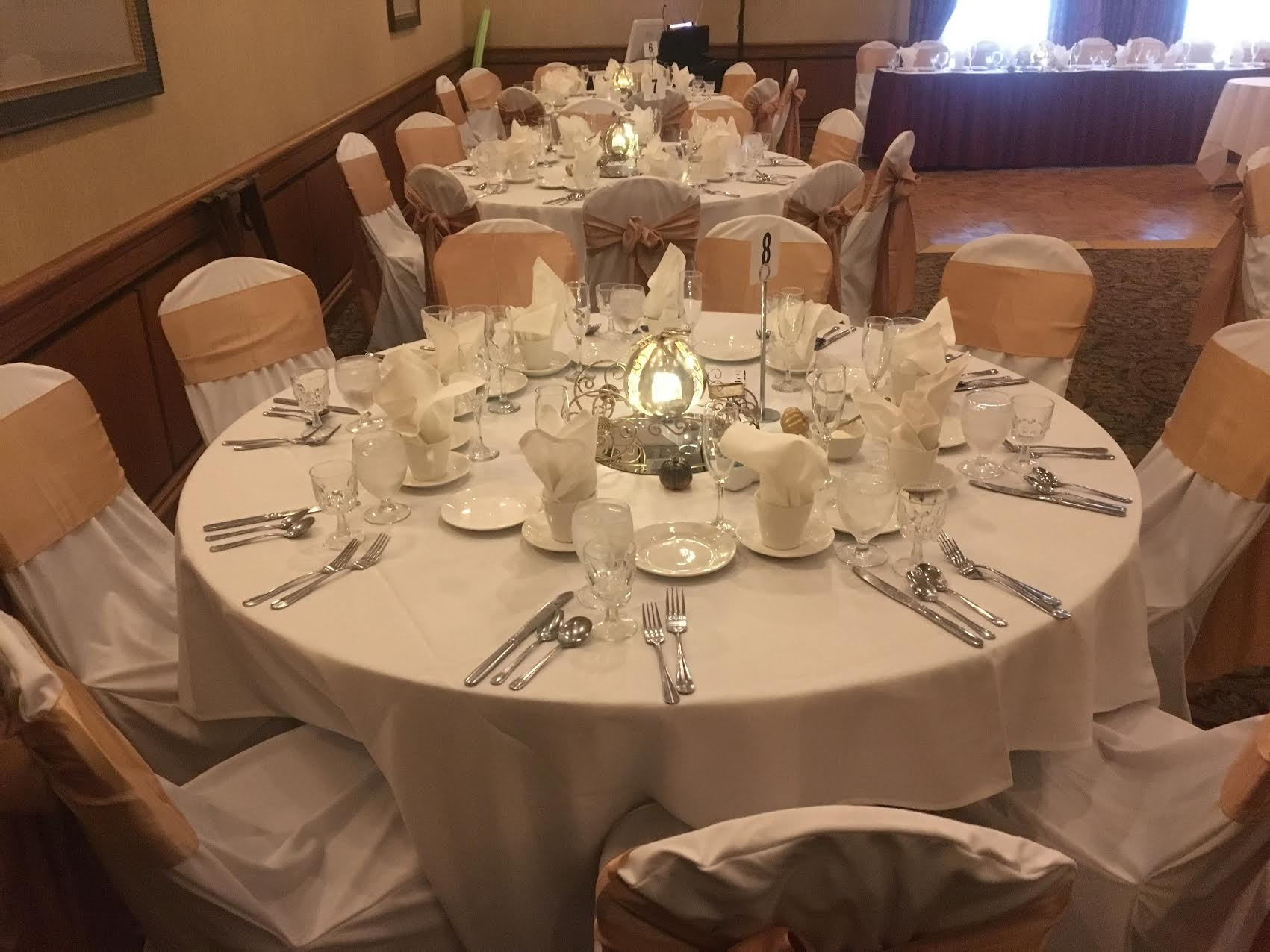 Colletti's Catering table chairs linens and plates